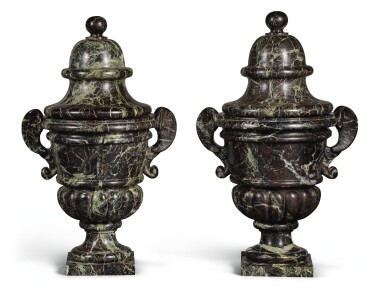 A PAIR OF LOUIS XIV VERT DE MER MARBLE VASES WITH COVERS LATE 17TH/EARLY 18TH CENTURY