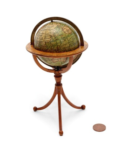 View 2. Thumbnail of Lot 292. Darton. Terrestrial pocket globe on tripod stand. 1811.