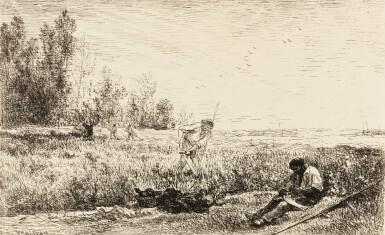 View 2. Thumbnail of Lot 39. COROT - DAUBIGNY - DELACROIX - MILLET - ROUSSEAU. Quarante clichés-glaces. 1921. Portfolio..