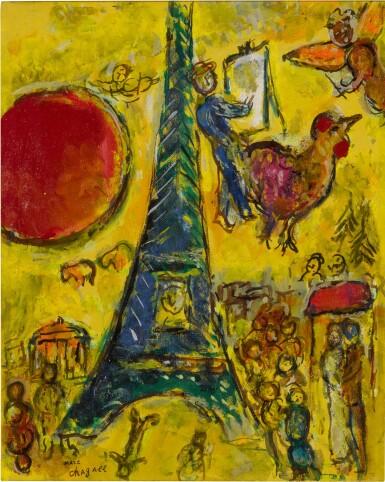 View 1. Thumbnail of Lot 26. La Tour Eiffel au soleil rouge.