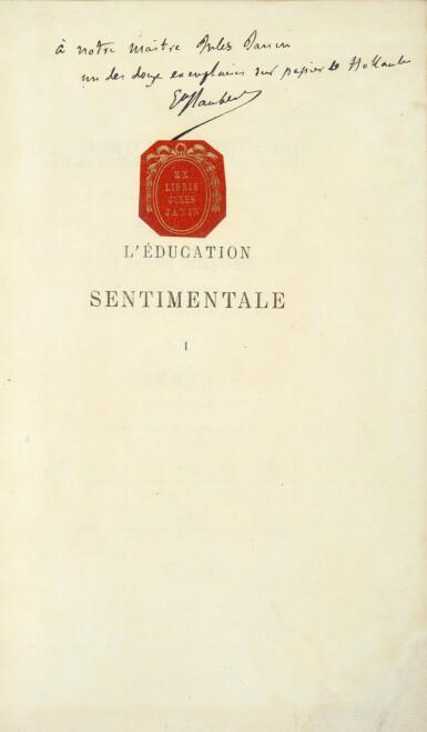 View 2. Thumbnail of Lot 42. FLAUBERT. L'Éducation sentimentale. 1870. 2 vol. in-8. Rel. de Carayon. E.O., ex. sur hollande, envoi à Janin.
