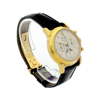 View 4. Thumbnail of Lot 31. REFERENCE 3970/E 'SECOND SERIES' A YELLOW GOLD PERPETUAL CALENDAR CHRONOGRAPH WRISTWATCH WITH MOON PHASES, 24 HOURS AND LEAP YEAR INDICATION, MADE IN 1987.