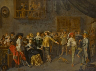View 1. Thumbnail of Lot 154. An elegant company merrymaking in an interior.