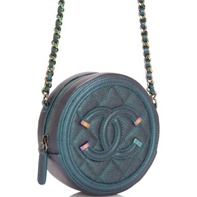 View 2. Thumbnail of Lot 118. Chanel Iridescent Dark Turquoise Caviar Round Mini Crossbody Bag.