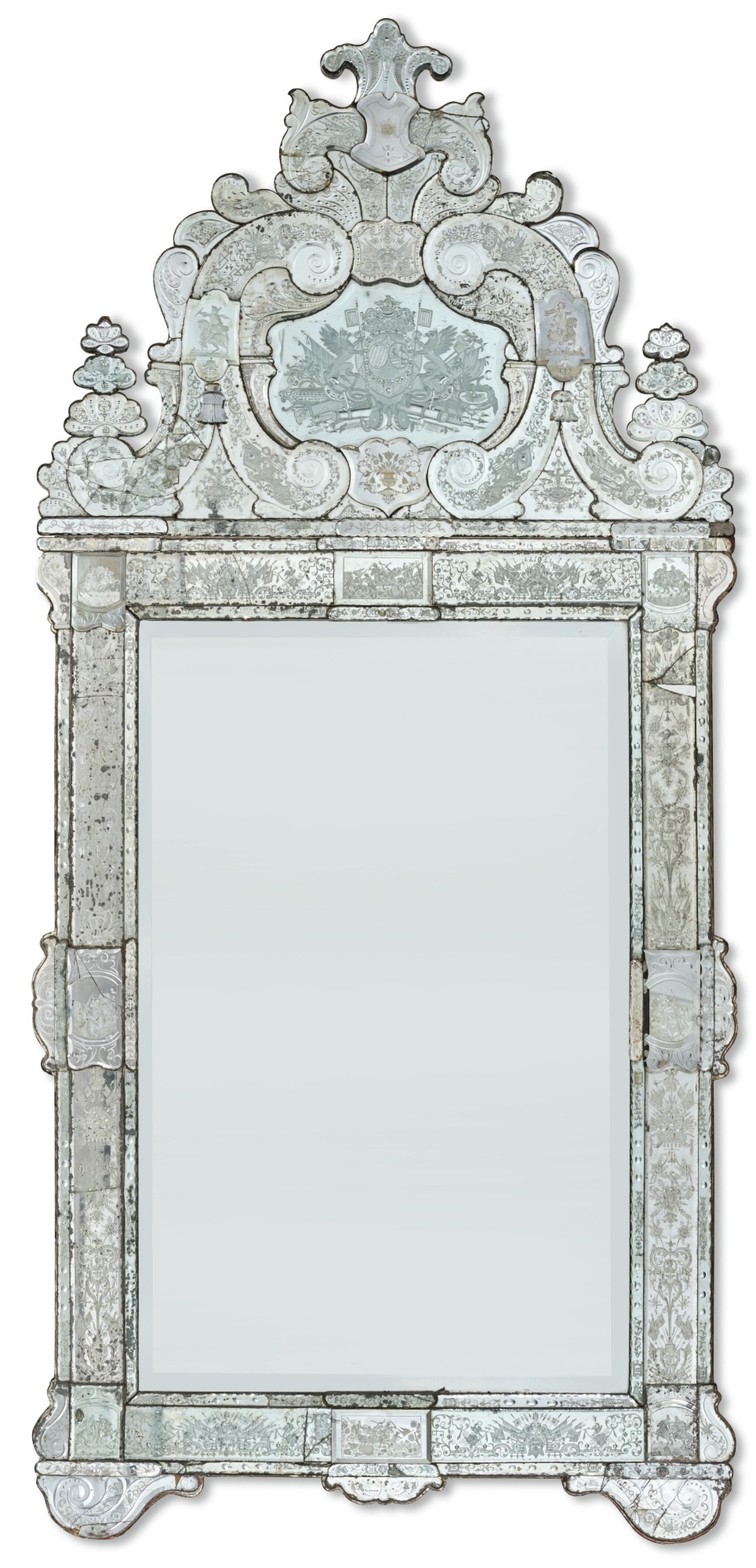 View full screen - View 1 of Lot 145. A GERMAN ETCHED GLASS PIER MIRROR, ATTRIBUTED TO SPIEGELMANUFAKTUR LOHR AM MAIN, CIRCA 1721.
