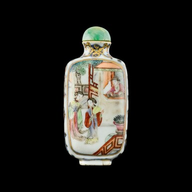 View 2. Thumbnail of Lot 1040. A famille-rose porcelain 'Romance of the West Chamber' snuff bottle Seal mark and period of Jiaqing | 清嘉慶 青花描金粉彩西廂人物圖鼻煙壺 《嘉慶年製》款.