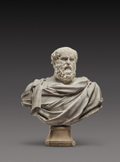 View 1. Thumbnail of Lot 121. Italian, 17th century | Monumental Bust of a Philosopher.