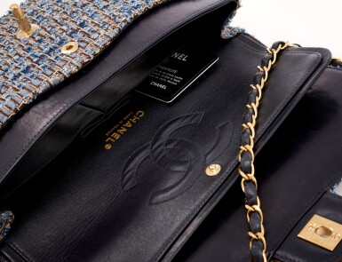 View 4. Thumbnail of Lot 110. Denim and wool tweed with silver-tone metal classic shoulder bag.
