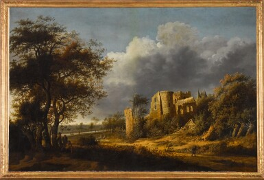 View 2. Thumbnail of Lot 159. A landscape with the ruined castle of Egmond, a river beyond.
