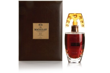 View 19. Thumbnail of Lot 177. THE MACALLAN IN LALIQUE SIX PILLARS COLLECTION WITH FRENCH POLISHED WALNUT CABINET BY JAMES LAYCOCK.