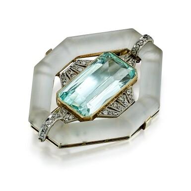 View 2. Thumbnail of Lot 9178. AQUAMARINE, ROCK CRYSTAL AND DIAMOND BROOCH | 海藍寶 配 白水晶 及 鑽石 別針.