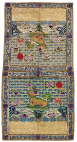 A GROUP OF SEVEN MILITARY RANK BADGES LATE QING DYNASTY | 晚清 緞繡武官補子一組七件