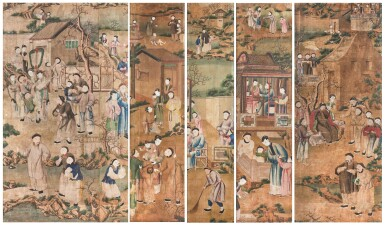 A SUITE OF FIVE CHINESE EXPORT WALLPAPER PANELS, CHINA, QING DYNASTY, 18TH CENTURY | ENSEMBLE DE CINQ LÉS DE PAPIER PEINT, CHINE, DYNASTIE QING, FIN DU XVIIIE SIÈCLE