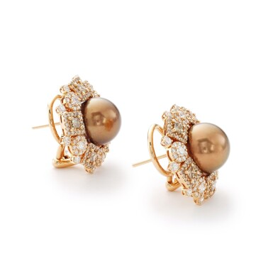 View 2. Thumbnail of Lot 4. MICHELE DELLA VALLE   PAIR OF CULTURED PEARL AND DIAMOND EARRINGS.