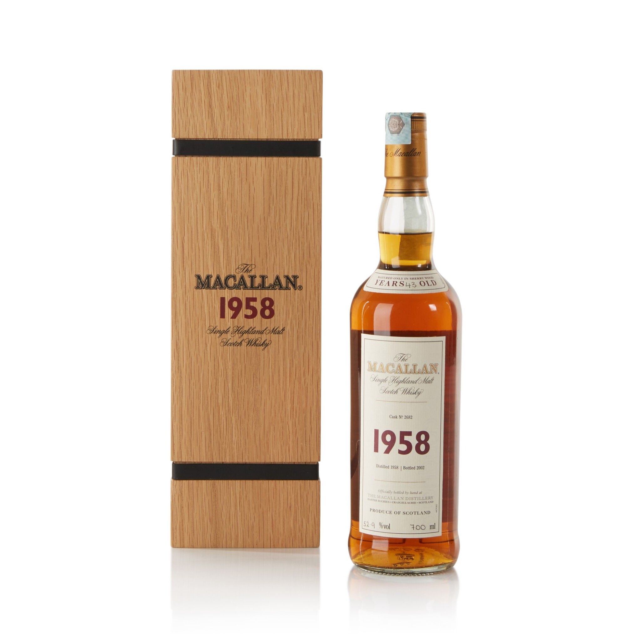 View full screen - View 1 of Lot 29. The Macallan Fine & Rare 43 Year Old 52.9 abv 1958 .