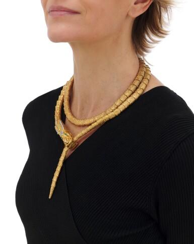View 6. Thumbnail of Lot 64. Diamond necklace/belt (Collana/cintura con smeraldi e diamanti).