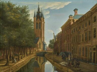 PAULUS CONSTANTIJN LA FARGUE | Delft, a view of Oude Delft looking south towards the Oude Kerk