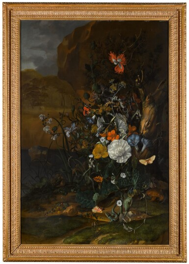 View 2. Thumbnail of Lot 5. Still life of flowers, with butterflies, insects, a lizard and toads, beside a pool.