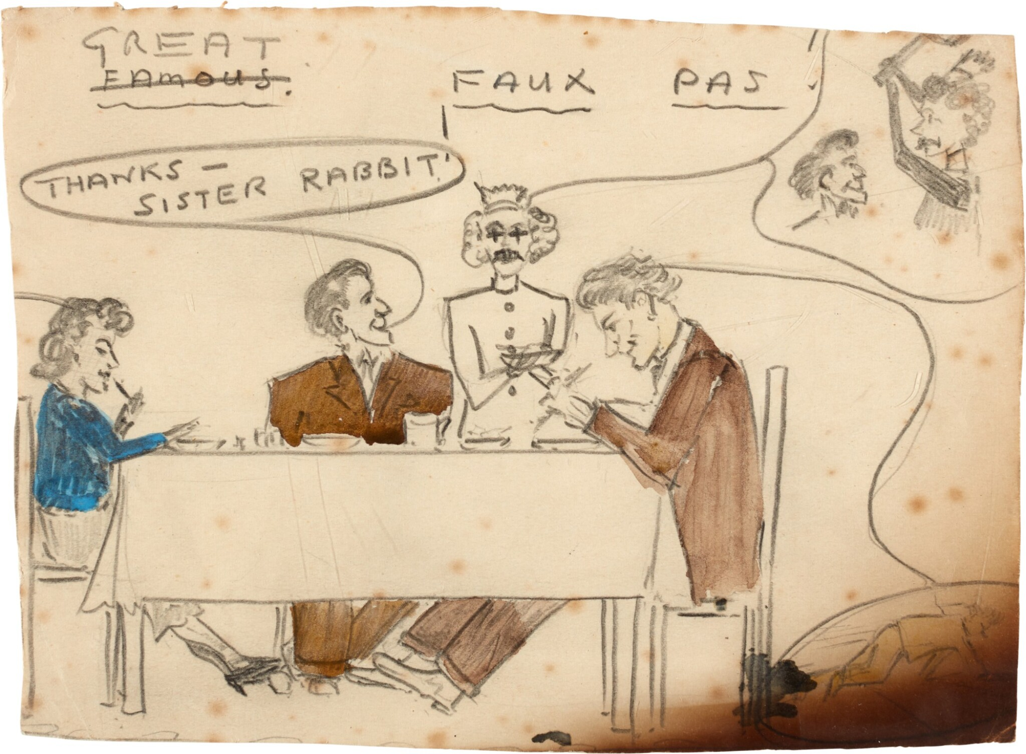 """View full screen - View 1 of Lot 44. Sylvia Plath   Pencil sketch entitled """"Great Faux Pas""""."""