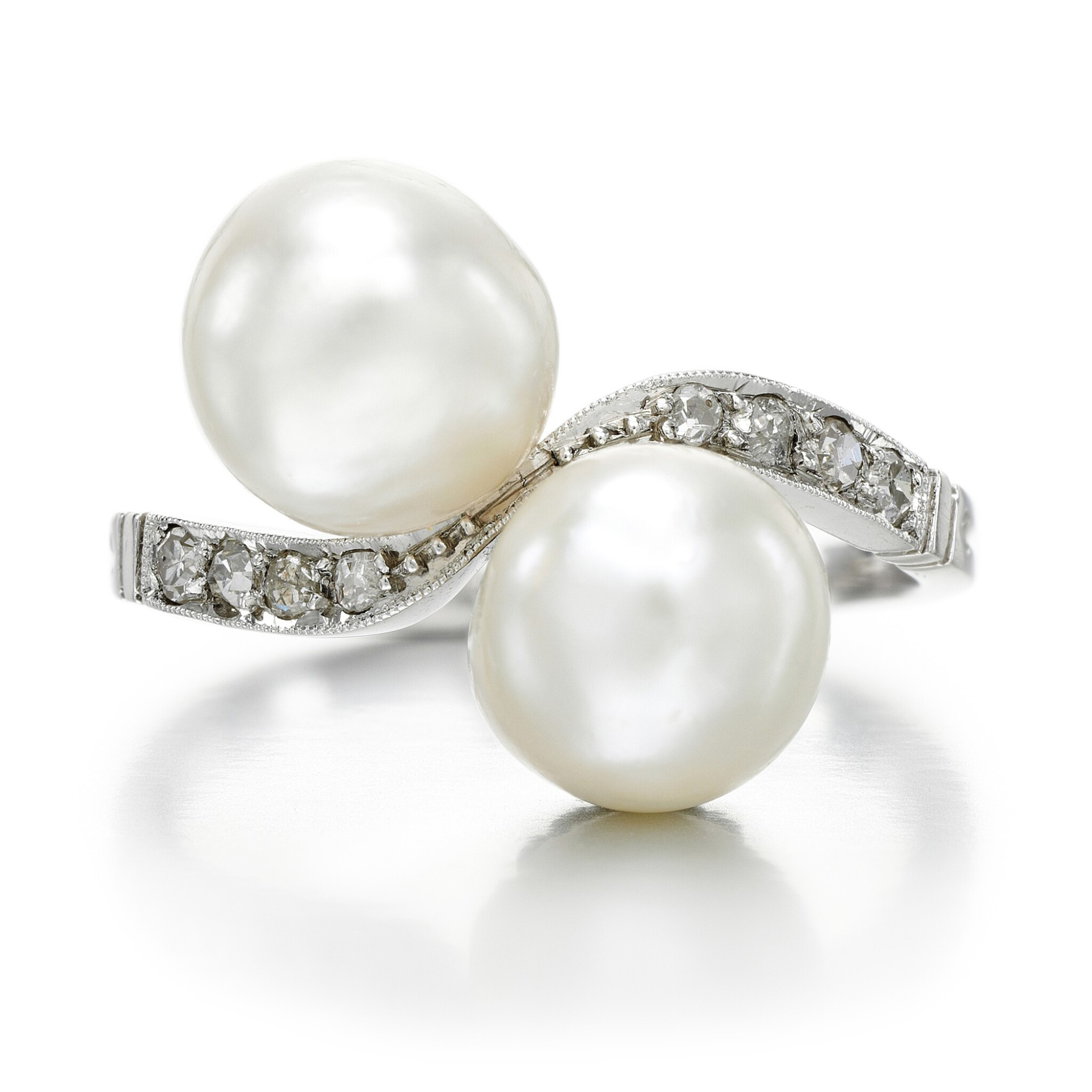 View full screen - View 1 of Lot 46. NATURAL PEARL AND DIAMOND RING.