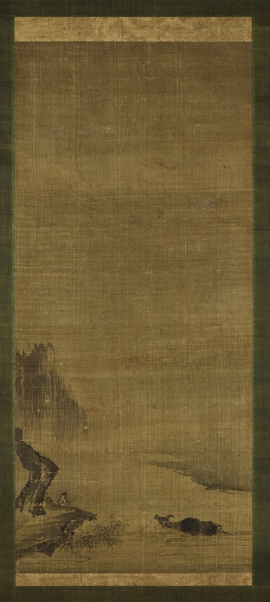 View 1. Thumbnail of Lot 21. A scroll painting with ox motif Attributed to Yujian, Southern Song dynasty | 南宋 傳玉澗《牧牛圖》軸 水墨絹本.