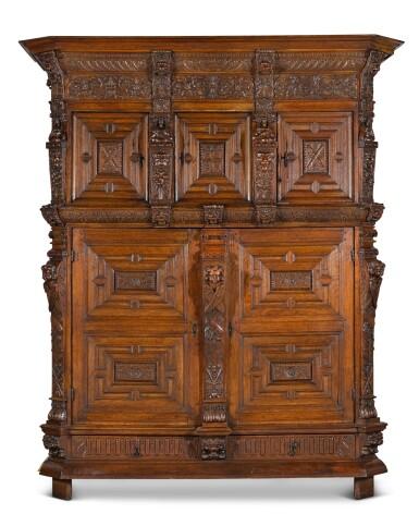 View 1. Thumbnail of Lot 5. A Flemish Renaissance style carved oak cabinet (buffet à cinq portes), probably Antwerp.