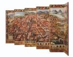 ANONYMOUS, MEXICAN SCHOOL (17TH CENTURY) | BIOMBO DE LA CONQUISTA DE MÉXICO Y VISTA DE LA CIUDAD DE MÉXICO