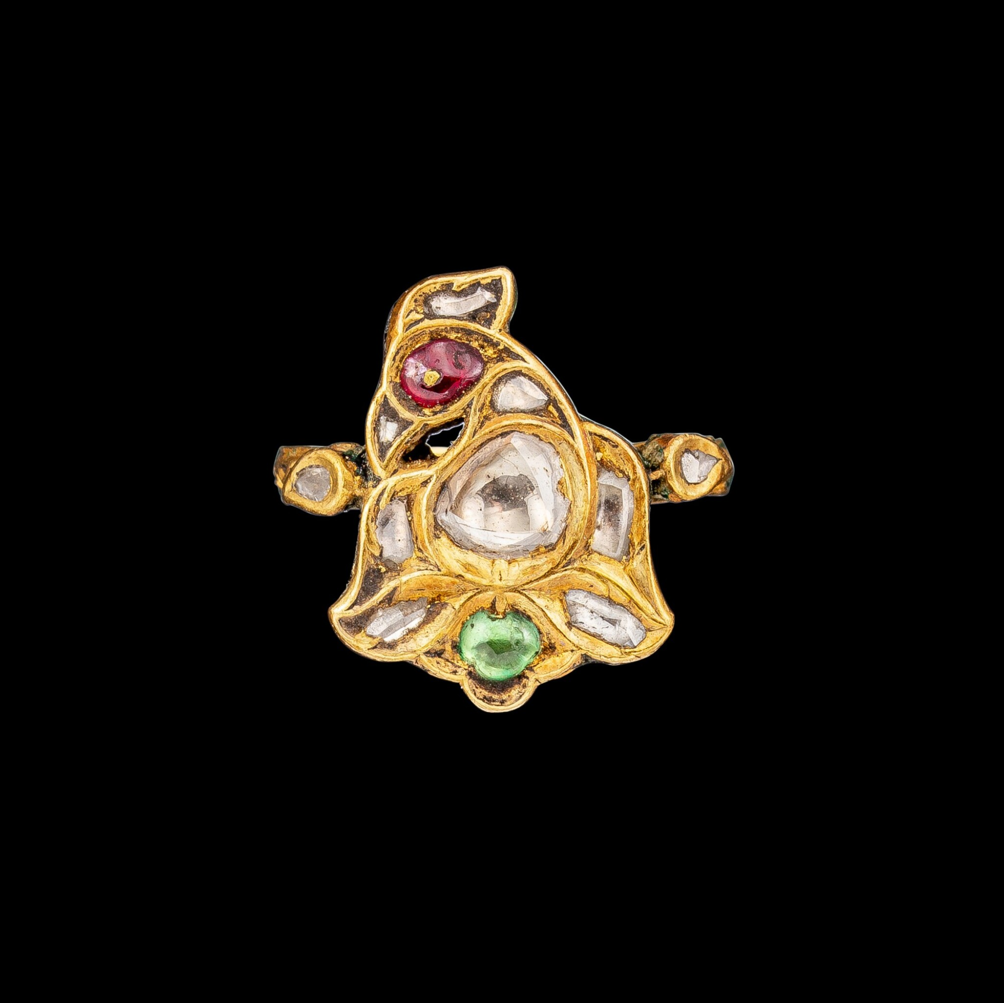 View full screen - View 1 of Lot 1019. A rare gold, diamond, ruby and emerald 'bird' ring Jaipur, North India, 19th century   十九世紀 北印度齋浦爾 金嵌鑽石、紅寶及祖母綠鳥形戒指 背飾琺瑯彩鳥紋.