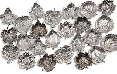 View 1. Thumbnail of Lot 228. A SET OF TWENTY-FOUR SILVER PLACECARD HOLDERS, BUCCELLATI, MILAN AND BOLOGNA, 20TH CENTURY.