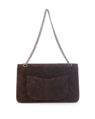 View 2. Thumbnail of Lot 61. Dark brown suede leather and silver-tone metal 2.55 reissue shoulder bag.