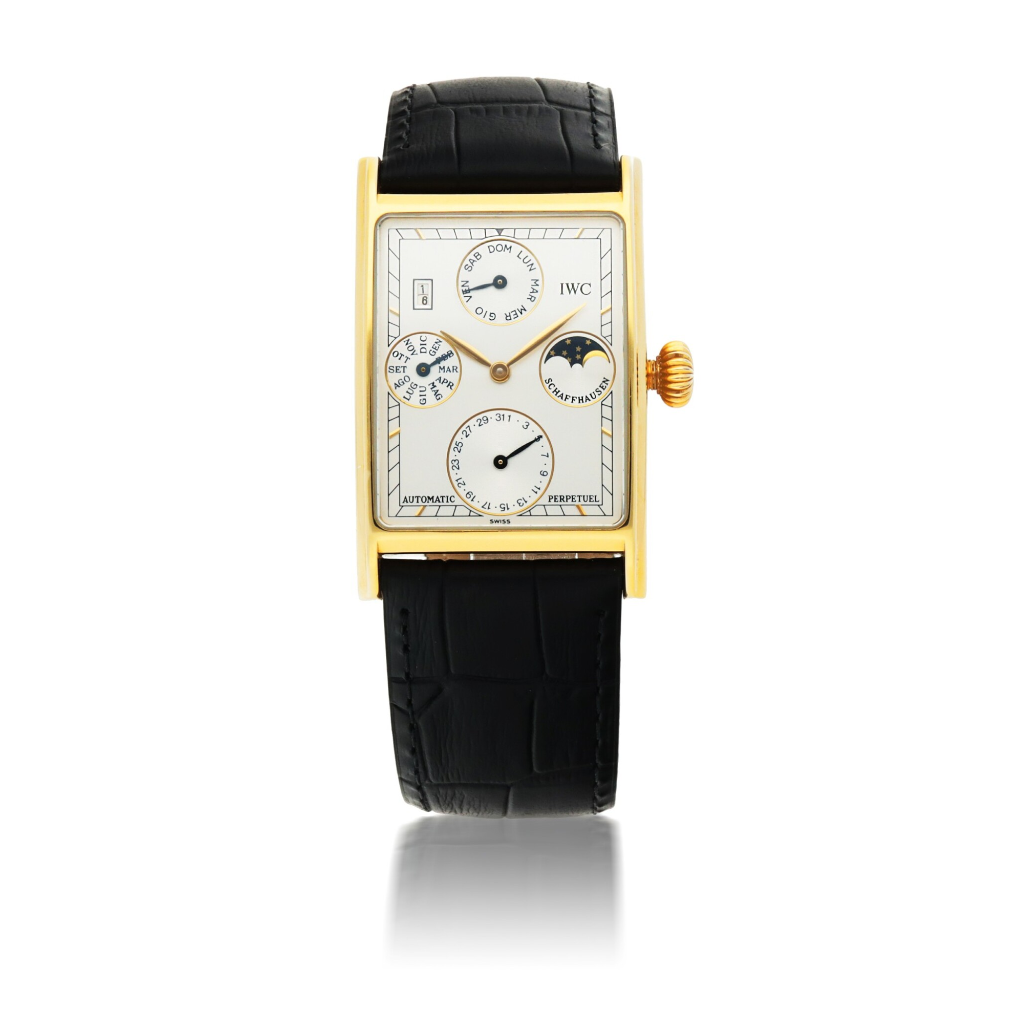 View full screen - View 1 of Lot 403. IWC | NOVECENTO, REF 3546 YELLOW GOLD PERPETUAL CALENDAR WRISTWATCH WITH MOON PHASES AND YEAR INDICATION CIRCA 1995.