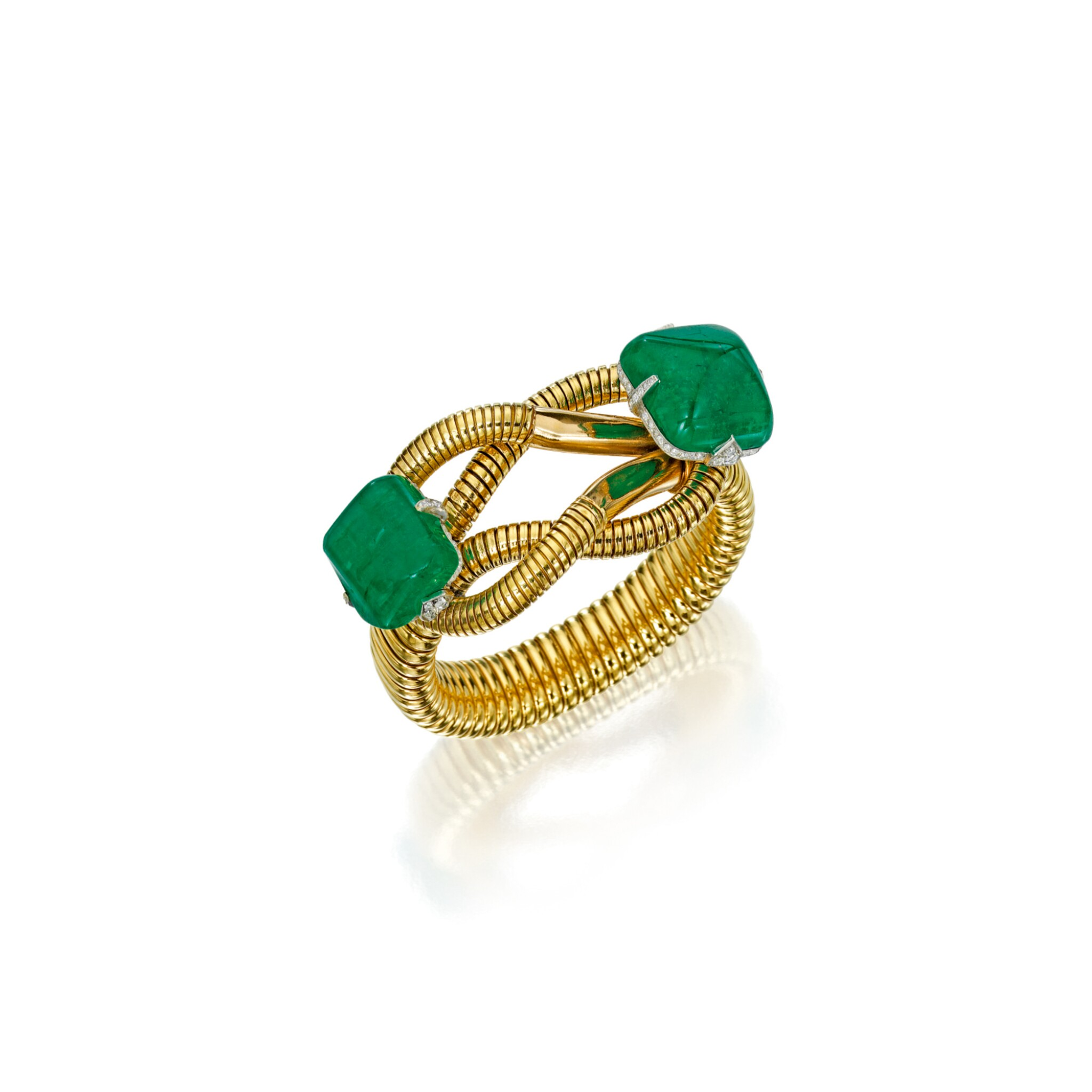 View 1 of Lot 594. GOLD, EMERALD AND DIAMOND BRACELET, CARTIER | 黃金鑲祖母綠配鑽石手鏈,卡地亞.