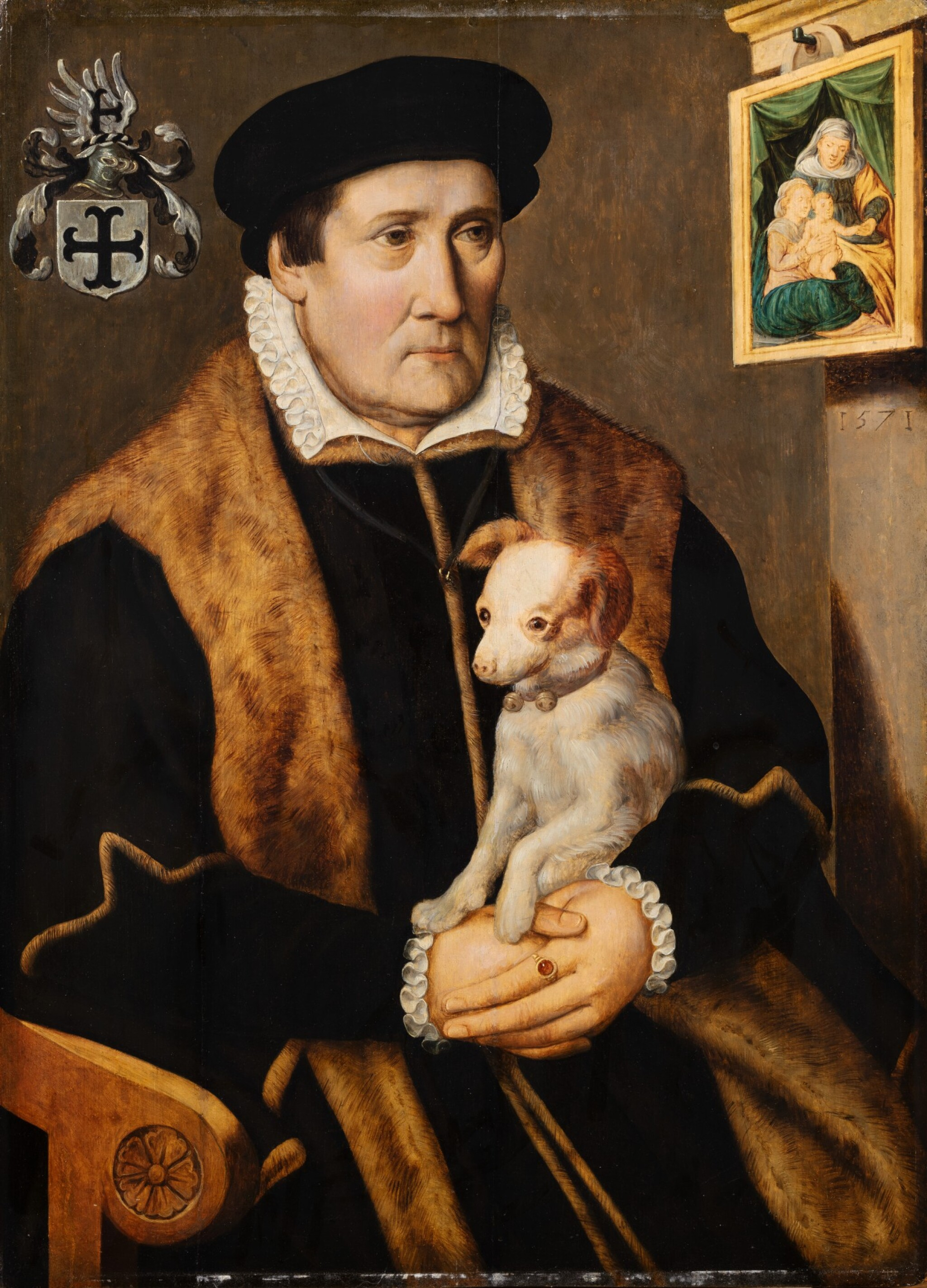 View full screen - View 1 of Lot 104. Portrait of a man holding a dog in his hands.