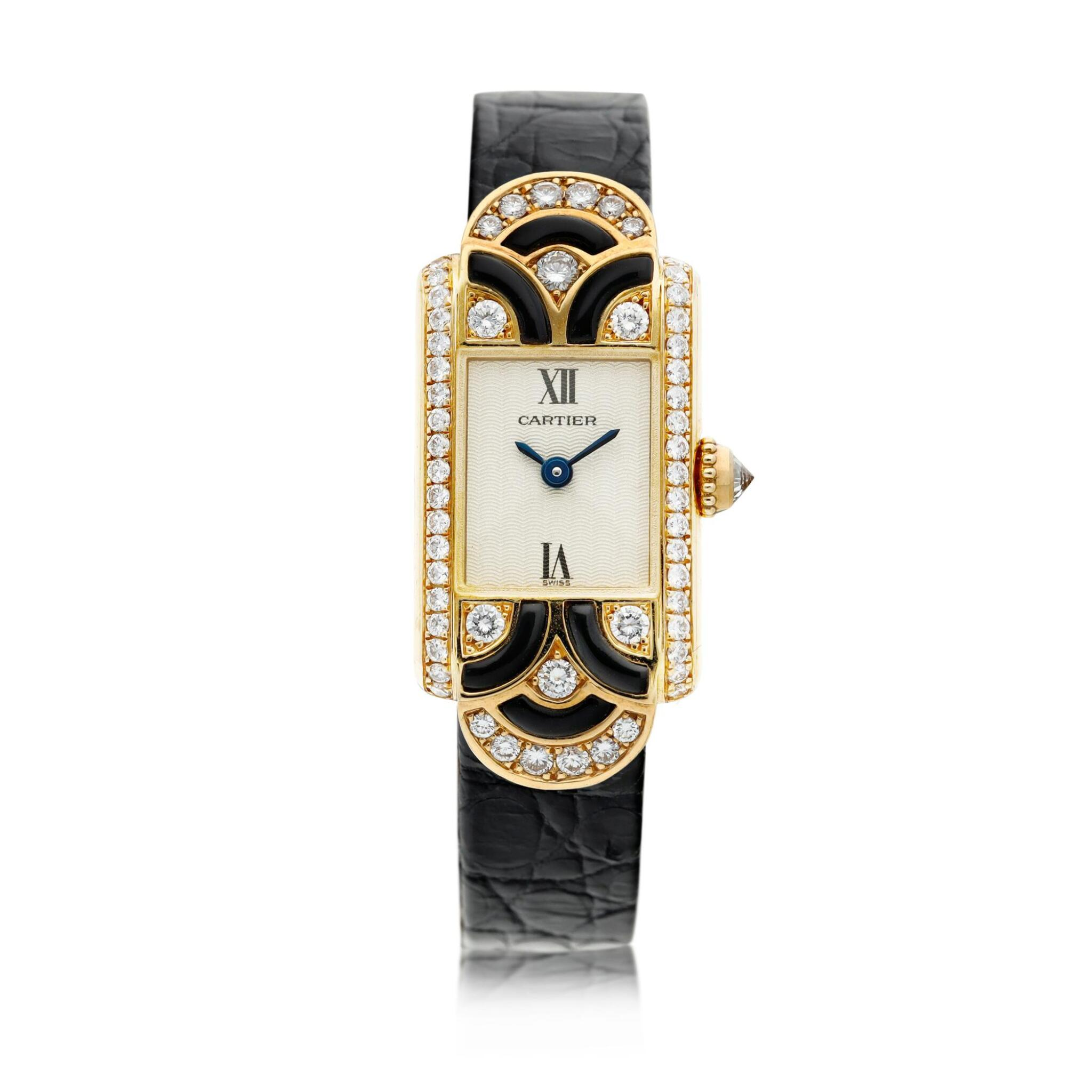 View full screen - View 1 of Lot 94.  Reference 1361 A yellow gold enamel and diamond-set wristwatch, Circa 1990 .