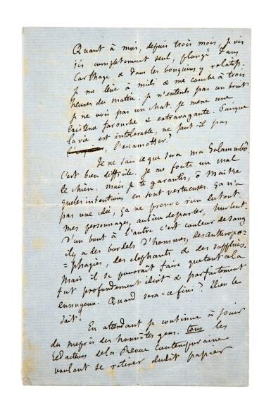 FLAUBERT. Lettre autographe signée à Théophile Gautier, Jeudi 27 janvier [1859]. Lettre à propos de Salammbo.