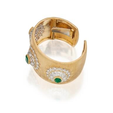 View 2. Thumbnail of Lot 398. Buccellati | Gold, Emerald and Diamond Cuff-Bracelet.