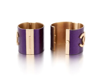 View 3. Thumbnail of Lot 83. Pair of purple leather wide cuffs.