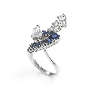 View 2. Thumbnail of Lot 92. Sapphire and diamond ring [Bague saphirs et diamants].