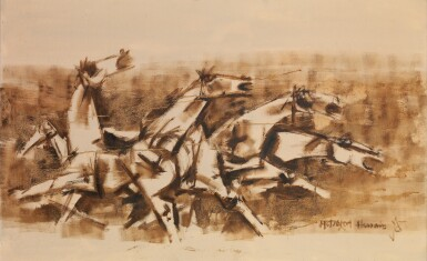 View 1. Thumbnail of Lot 110. MAQBOOL FIDA HUSAIN | Untitled (Horses).