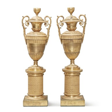 View 1. Thumbnail of Lot 102. A Pair of Restauration Gilt Bronze Vases, 19th Century.