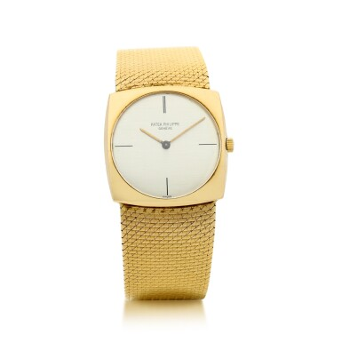 View 1. Thumbnail of Lot 56. PATEK PHILIPPE | REFERENCE 3523/1  A YELLOW GOLD SQUARE-SHAPED BRACELET WATCH, MADE IN 1965.