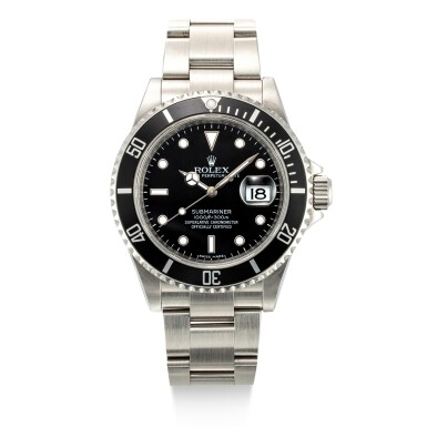 View 1. Thumbnail of Lot 8038. Rolex | Submariner, Reference 16610T, A stainless steel wristwatch with date and bracelet, Circa 2007 | 勞力士 | Submariner 型號16610T    精鋼鏈帶腕錶,備日期顯示,約2007年製.