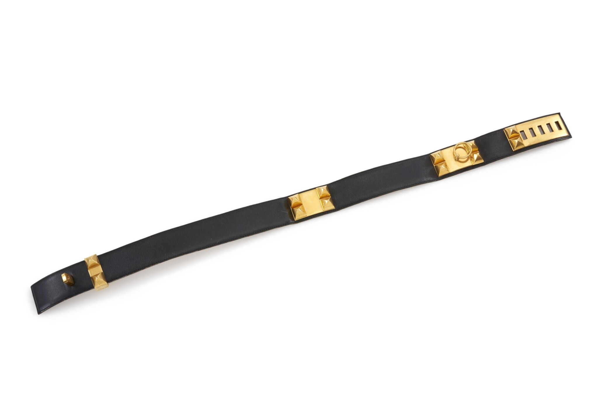 Leather and gold plated hardware belt, Collier de chien 75, Hermès, 1991