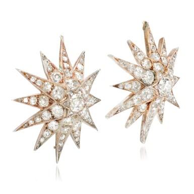 View 2. Thumbnail of Lot 89. Pair of diamond earrings/pendants, late 19th century.