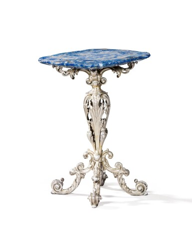 A SMALL PEDESTAL TABLE WITH SILVER FOOT, THE TABLE TOP APPLIED WITH LAPIS LAZULI, MAZZETTI, MILAN, CIRCA 1950 | PETIT GUÉRIDON À PIED EN ARGENT, LE PLATEAU PLAQUÉ DE LAPIS LAZULI PAR MAZZETTI, MILAN, VERS 1950