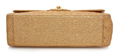GOLD EMBROIDERED FABRIC AND LEATHER WITH GOLD-TONE METAL CLASSIC SHOULDER BAG , CHANEL