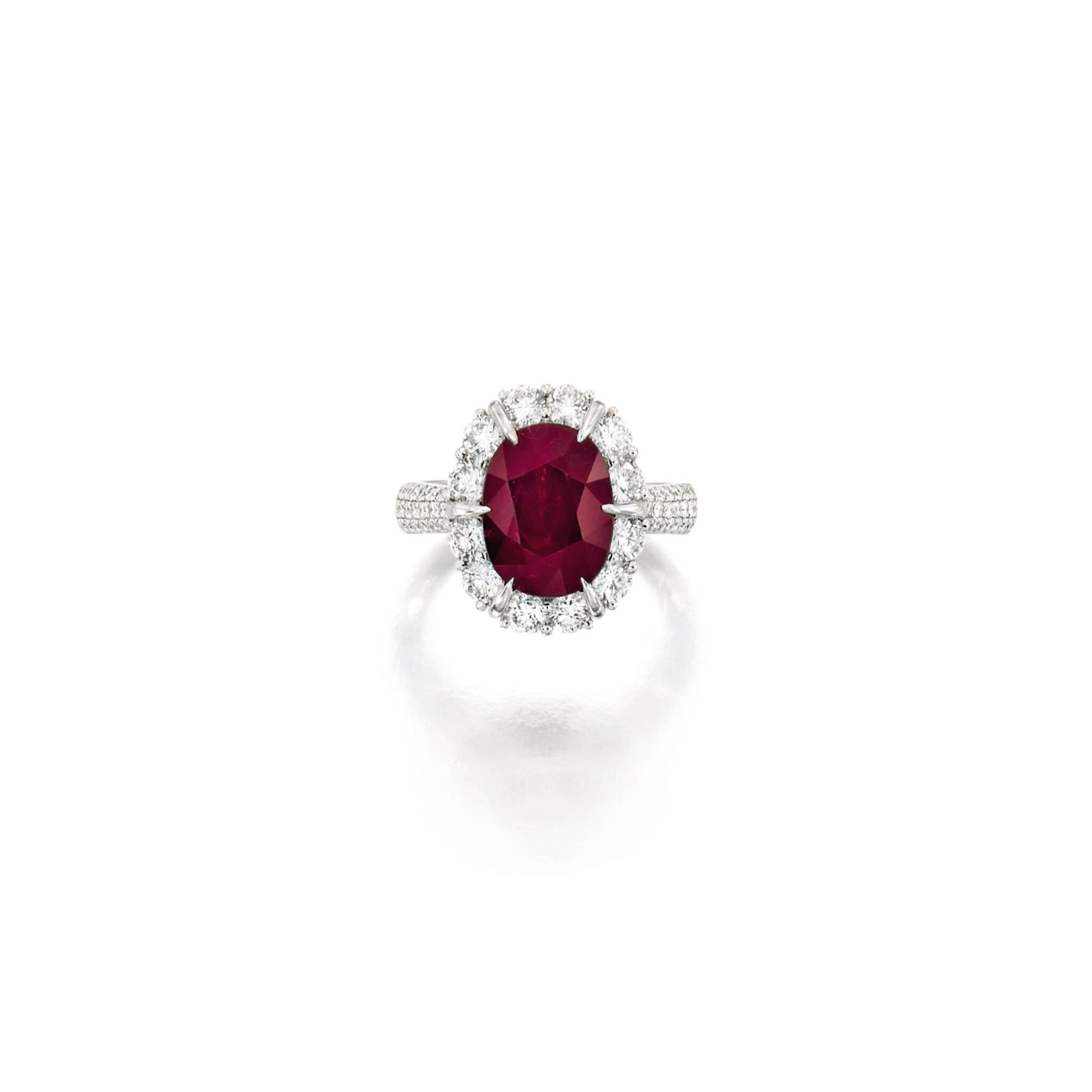 View full screen - View 1 of Lot 1689. RUBY AND DIAMOND RING   4.51卡拉 天然 「緬甸」紅寶石 配 鑽石 戒指.