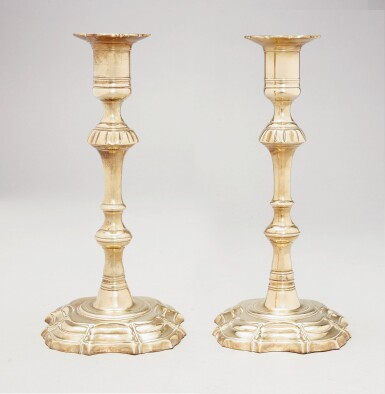 View 2. Thumbnail of Lot 1096. PAIR OF CHIPPENDALE CAST-BRASS MOLDED BASE CANDLESTICKS, ENGLAND, CIRCA 1770.
