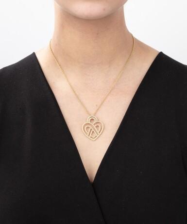 View 4. Thumbnail of Lot 121. Poiray, Diamond necklace [Collier diamants], 'Coeur entrelacé'.