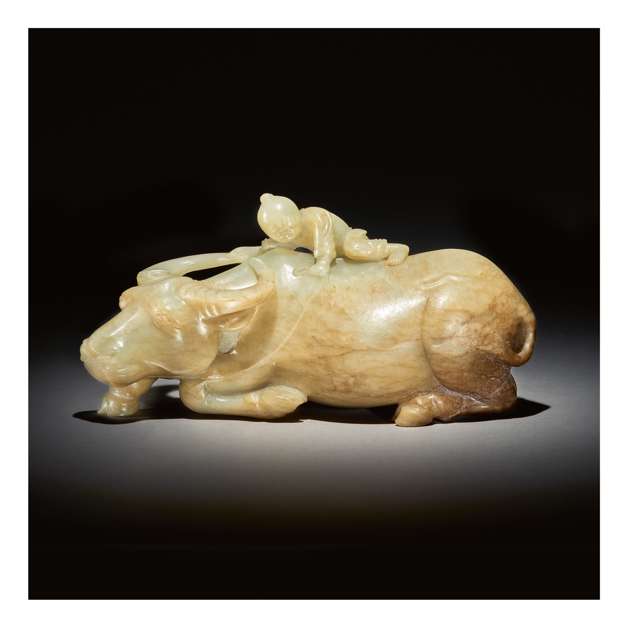 View full screen - View 1 of Lot 225.  A LARGE CELADON AND RUSSET JADE 'BOY AND BUFFALO' GROUP,  MING DYNASTY.